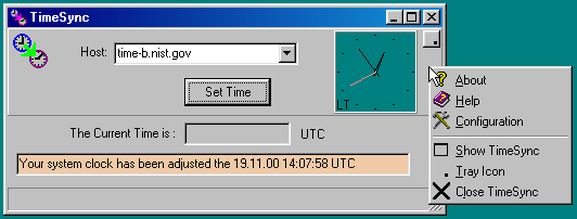 TimeSync allows to adjust the clock of your Computer using the Internet.